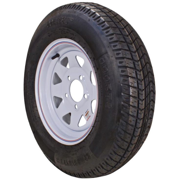 ST225/75R-15 KR03 Radial 2150 lb. Load Capacity White with Stripe 15 in. Bias Trailer Tire and Wheel Assembly
