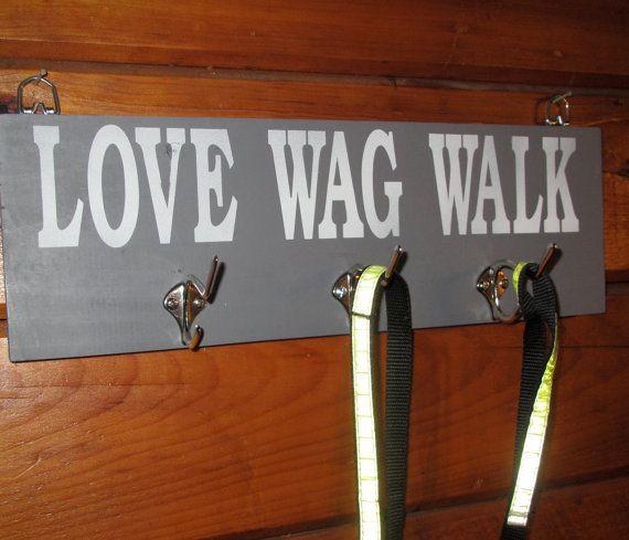 Dog Pet Lover Sign leash holder dog leash hook by WordsofWisdomNH, $20.00