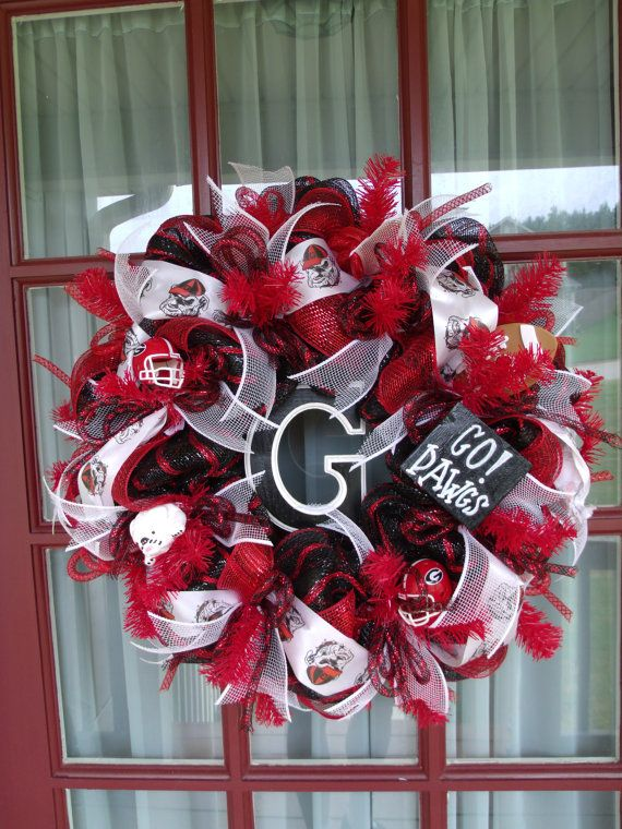 University of Georgia -UGA Fan Deco Mesh Door Wreath