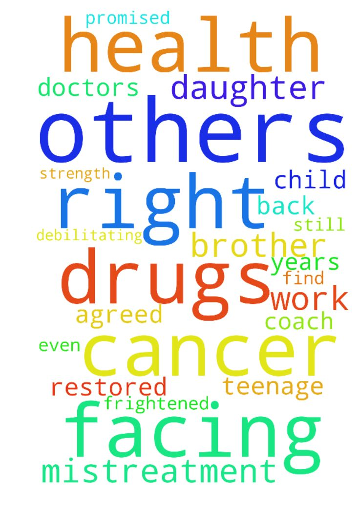 Cancer drugs not working for brother/teen daughter facing mistreatment -  Please pray the doctors will find the right combination of chemo drugs to work on my brother Jasons liver cancer and that the side effects are not debilitating. That his health and strength back be restored and hes coming able to return to work but so they are not finacially devastated. Also prayers of comfort for his wife and child as they are frightened. Please also pray for my teenage daughter who yet again is…