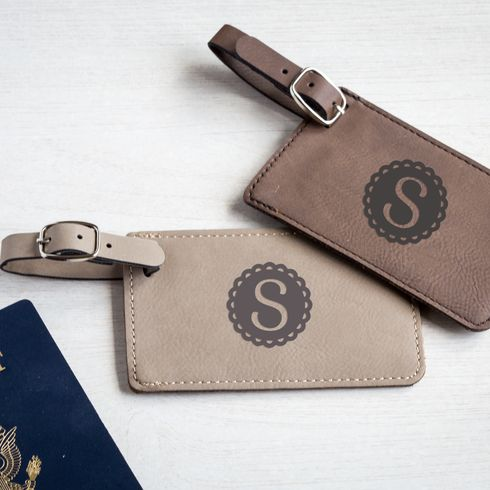 Shop now: A chic, personalized accessory for your bridesmaids or any traveler, these leatherette luggage tags make a great personalized gift and are personalized with initials. A removable identification card makes them travel-ready for your next trip.