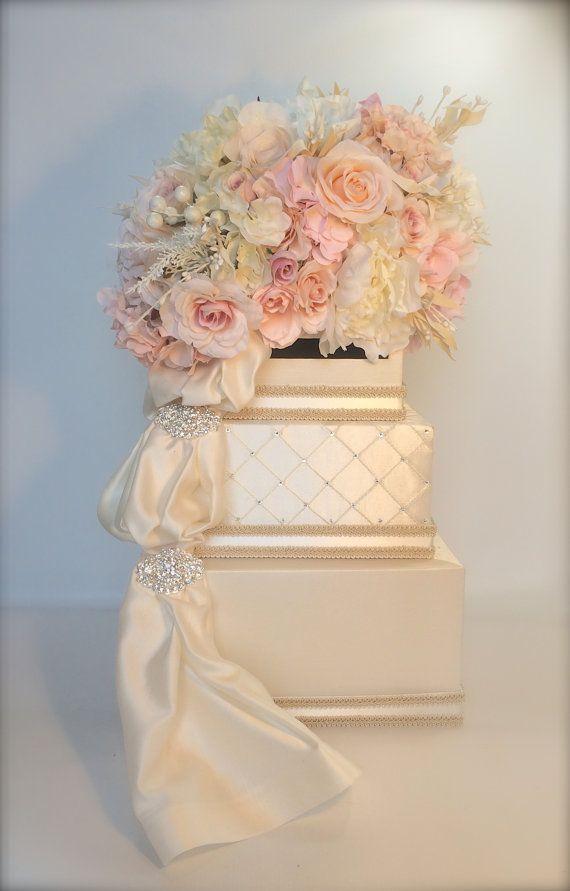 Victorian Blush Peach Pink Wedding Card Holder Wedding Card Box Secure Lock Silver Three Tier