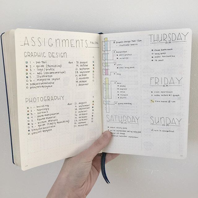 Here's how I keep track of all my assignments this semester! I have two check boxes: one for when I've turned in the assignment, and one for when it's been approved! I wrote this down in my bullet journal as soon as I got the term schedules!  How do you use your bullet journal to stay organized in school/college?