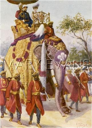 Picture No 10027828 Date 1901 Description GEORGE V IN BENARES Details  George V and Mary, when Duke and duchess of York, ride an elephant at Benares, in the course of their tour of the Empire, 1901 Credit Mary Evans Picture Library
