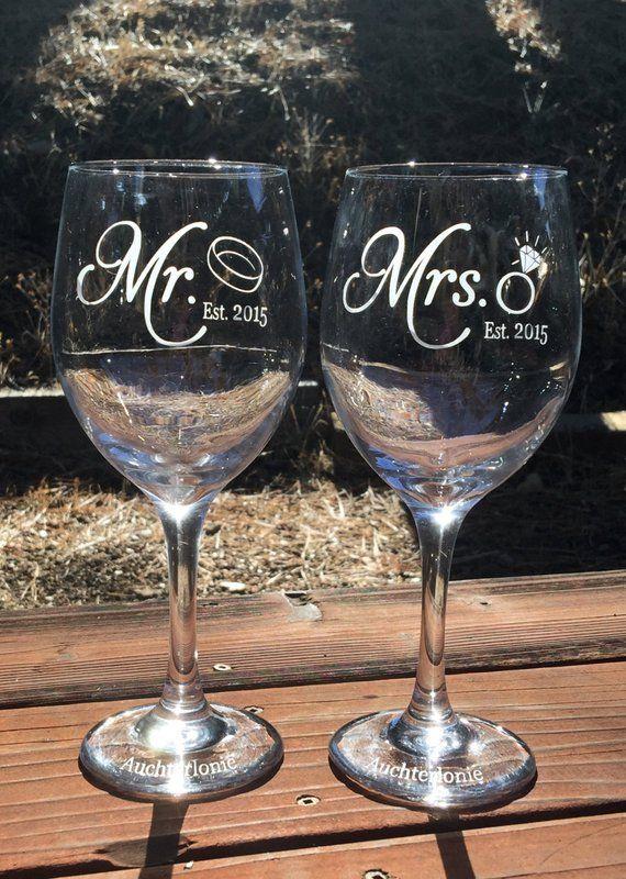 64de5b47d13 Mr. Mrs. Wine Glass, Wine Glass Etched, Engraved, Wedding ...