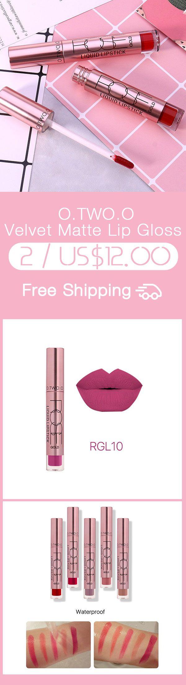 O.TWO.O Velvet Matte Lip Gloss Long Lasting Lips Makeup Waterproof Lipstick Liquid 12 Colors