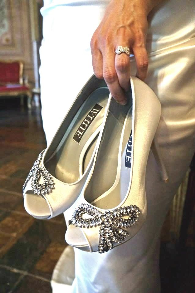 Vera Wang White, bow encrusted shoes matched my bow engagement ring perfectly!!