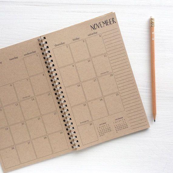 2016 planificateur de 2017 kraft petit mensuel par lettercdesign