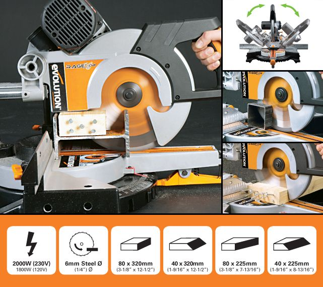 The Evolution RAGE3-DB Multipurpose 255mm Double Bevel Sliding Mitre Saw