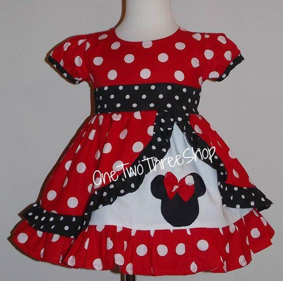 Minnie Med red  peekaboo Puffy sleeve Dress by amacim on Etsy, $48.00