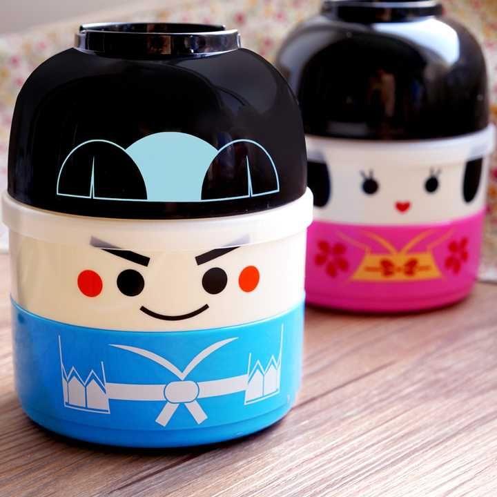 Estilo japonés lonchera doble capa caja de plástico muñeca de dibujos animados lindos de los amantes de microondas Bento Box(China (Mainland))