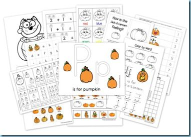 Pumpkin-themed activities.  FREE printables.