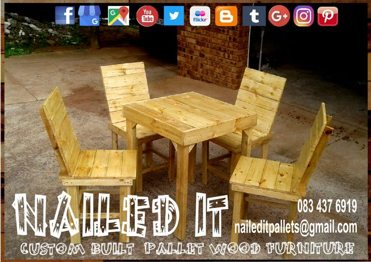 Custom Build Pallet Wood Table & Chair set. Varnished Finish. Built to the Client's specific needs & requirements. Suitable for indoor & outdoor use. Contact 0834376919 or naileditpallets@gmail.com for all your inquiries or quotes #pallettableandchairs #outdoorpalletfurniture #naileditpalletfurniture #customfurniture #palletfurnituredurban #custompalletfurniture #palletchairs #pallettable #palletdiningset #palletwoodfurnituredurban #palletoutdoorfurniture