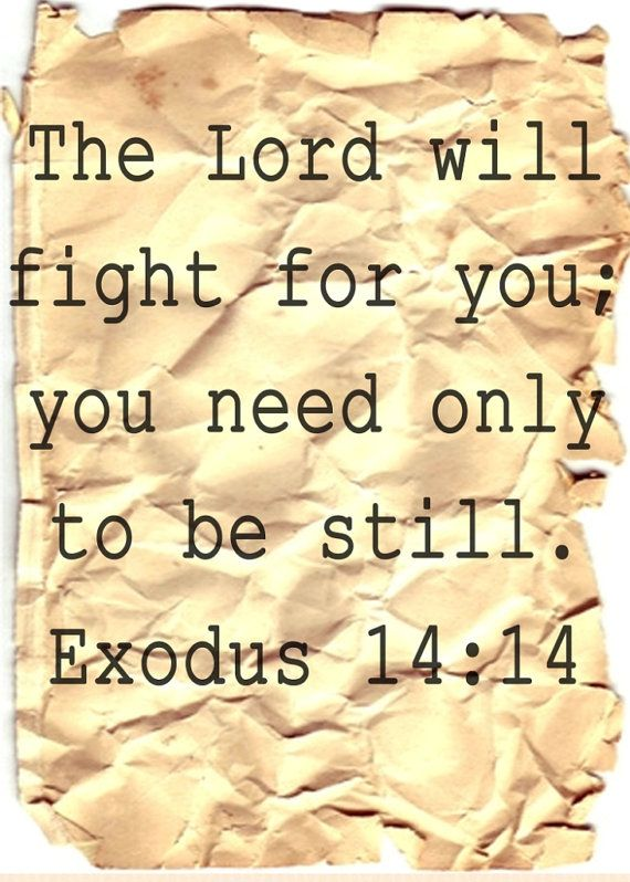 """Exodus 14:14 """"The Lord will fight for you; you need only to be still."""""""