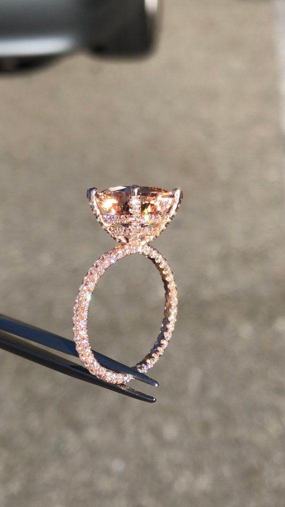 14 Karat Rotgold Diamant unter Halo Ehering mit Diamanten   Etsy