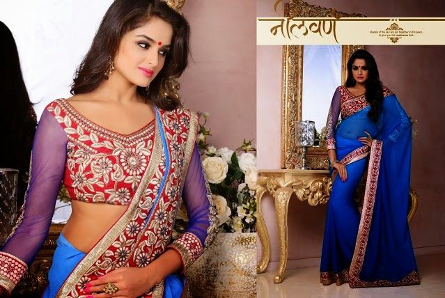 Superb Designer Party wear Shaded Blue Chiffon Saree with Pallu and Contrast matching Dhupian Netted Blouse. Heavy work en-crafted all over.