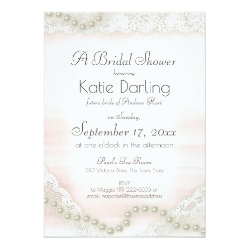 Pearls and Lace Blush Bridal Shower Card