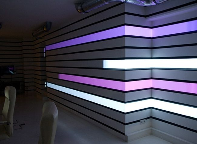 interaktive Video Wand lila weiß LED Beleuchtung