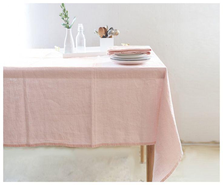 Bohemian Tablecloth  Light Pink Linen