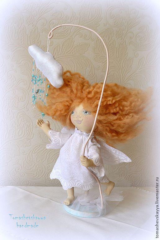 Купить Босоногий ангел - белый, ангел, авторская ручная работа, текстильная кукла, авторская кукла