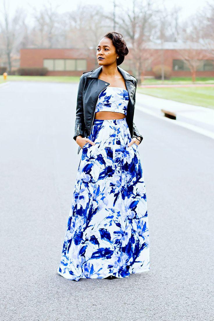 "alt=""maxi skirt, crop top, leather jacket"""