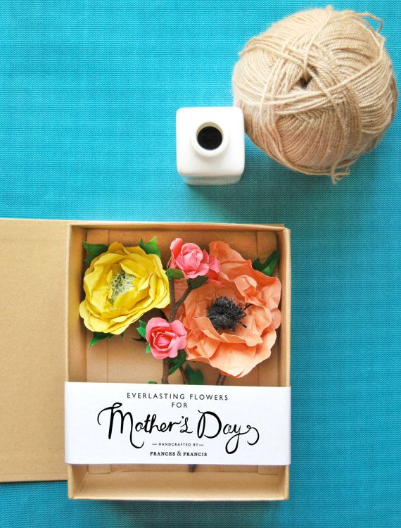 Gift box with paper flowers perfect for Mothers Day