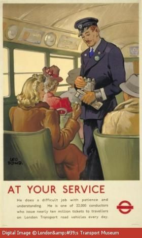 At your service - bus conductor - poster