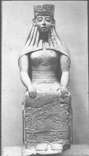 Donna seduta; fine VII secolo a.C.; calcare scolpito; da tempio di Prinias, isola di Creta.