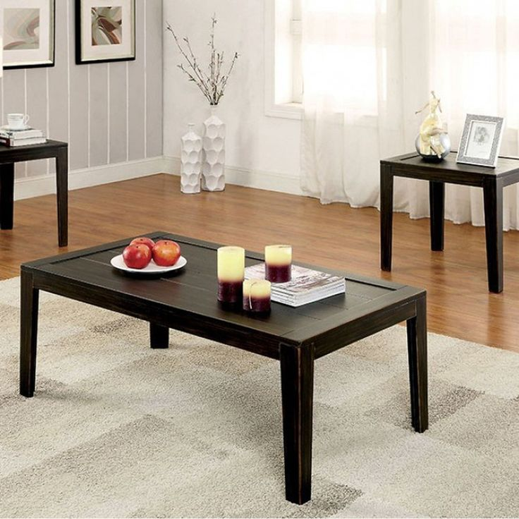 Benzara Tamra Transitional Coffee Table Set, Distressed Espresso, Set of 3