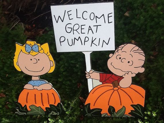 Peanuts Halloween Great Pumpkin Charlie Brown with Linus and Sally Wood Garden Lawn Yard Art Ornament