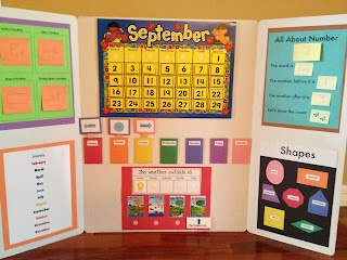 Circle Time Calendar - made easy, by using a science board, velcro dots and post-it notes.  This worked for us and made Circle Time so much FUN
