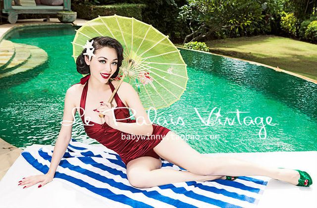 FREE SHIPPING Le Palais Vintage PIN UP limited edition retro fold super thin red one-piece swimming suit swimwear US $53.00 /piece Specifics Material	Polyester Pattern Type	Solid Support Type	Underwire With Pad	Yes Brand Name	vintage palace Model Number	SML Gender	Women Item Type	One Pieces color	dark wine red Color Style	Natural Color  Click to Buy :http://goo.gl/t9O329