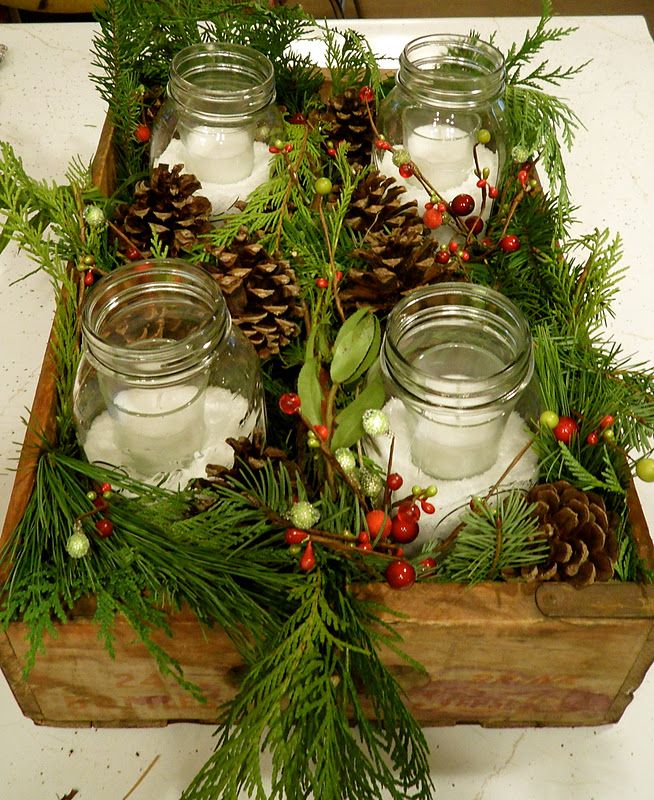 Winter Rustic Old Pepsi Crate & Pine Centerpiece...fabulous centerpiece for the Christmas Holidays using an old beverage crate & mason jars...instructions included.
