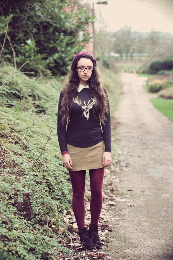 Joules jumper, autumn, winter, deer, burgundy tights