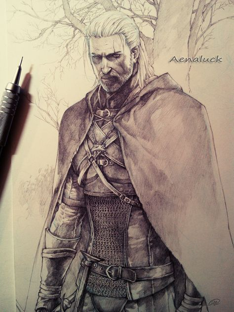 Geralt from The Witcher 3 by aenaluck fighter ranger guard soldier knight thief rogue assassin chainmail armor clothes clothing fashion player character npc | Create your own roleplaying game material w/ RPG Bard: www.rpgbard.com | Writing inspiration for Dungeons and Dragons DND D&D Pathfinder PFRPG Warhammer 40k Star Wars Shadowrun Call of Cthulhu Lord of the Rings LoTR + d20 fantasy science fiction scifi horror design | Not Trusty Sword art: click artwork for source