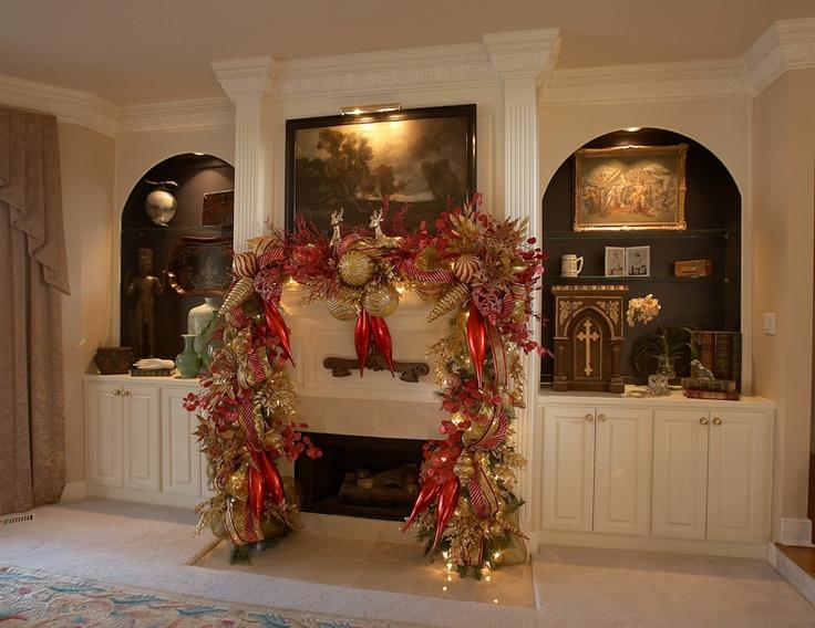 Christmas garland home decor pinterest christmas for Christmas garland on fireplace