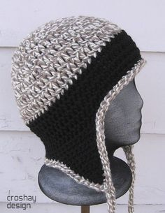 free crochet hat pattern with ear flaps for men   CROCHETED HAT WITH EAR FLAP PATTERNS   FREE PATTERNS by PollyII
