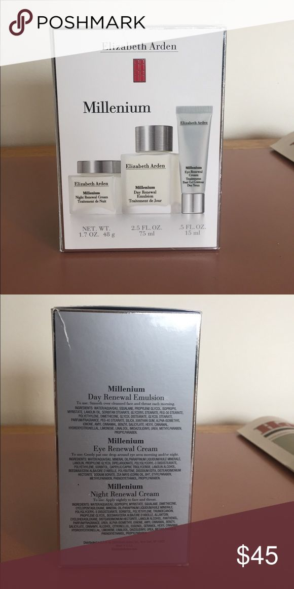 Brand new unopened Elizabeth Arden Millenium trio Elizabeth Arden Millenium trio contains: night renewal cream 1.7 oz, Day Renewal Emulsion 2.5 fl.oz, Eye Renewal Cream .5 fl.oz Elizabeth Arden Makeup