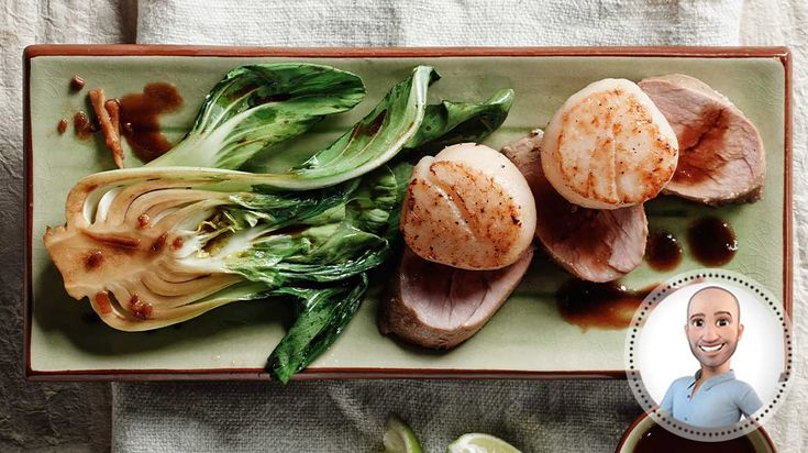 Filet de porc glacé à l'asiatique, pétoncles poêlés et bok choys sautés de Stefano Faita