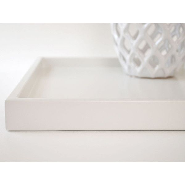 White 14 X 18 Shallow Decorative Tray Lacquered Wood