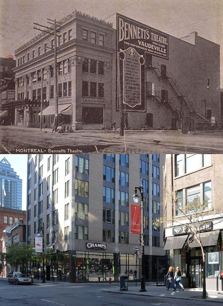 https://flic.kr/p/auEqz9   Vers 1910-2011   Le cinéma Bennett fut construit en 1906 sur le site d'une ancienne église baptiste. Il fut remplacé en 1967 par un édifice à bureaux qui est aujourd'hui converti en résidence étudiante. Source : BANQ, Cartes postales, CP 5770, bibnum2.banq.qc.ca/bna/carpos/c05770.jpg