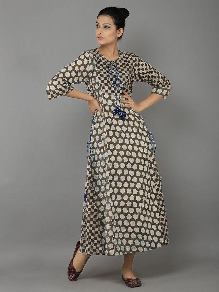 Kora Brown Block Printed Cotton Tunic