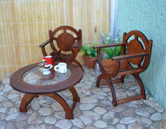 Puppe Garten Kaffee Tisch Stuhl Sessel Puppenhaus Diorama