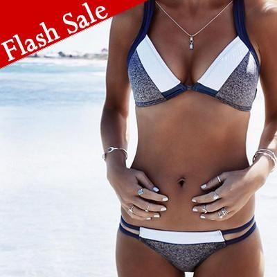 Mono Inspiration Bikini Halter Strappy Swimsuit Top and Bottom