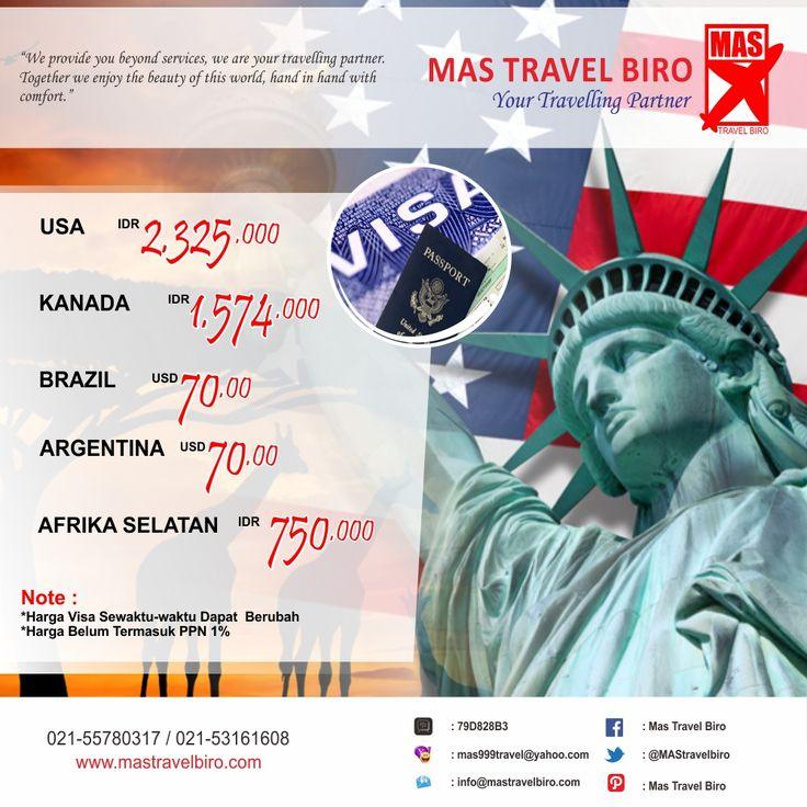 Selain tiket pesawat, paket tour, dan hotel. kami bisa membantu travelers dalam pembuatan #paspor dan #visa . Ingin membuat Visa #Amerika #Afrika? Info: 021-55780317 / 021-53161608