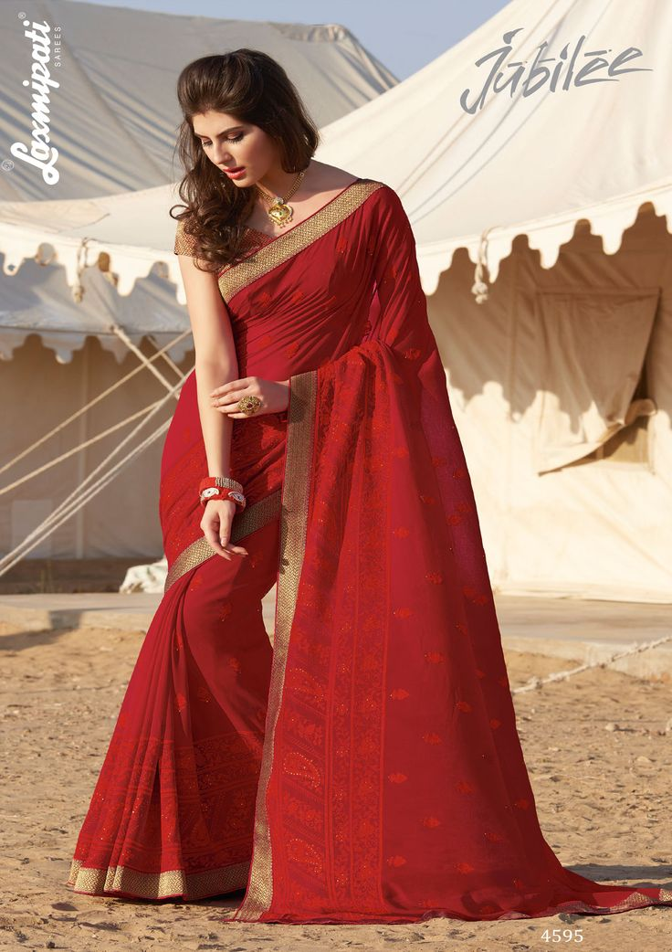 Get this eye-catching red #georgette #embroidery resham, stone work #saree with fancy zari lace border and golden & red brocade blouse by #Laxmipatisarees Catalogue- Jubilee, Design Number: 4595, Price: ₹ 2992.00  #OrderOnline #Cashondelivery #Freeshipping #Nayazamana #Fashion #Style