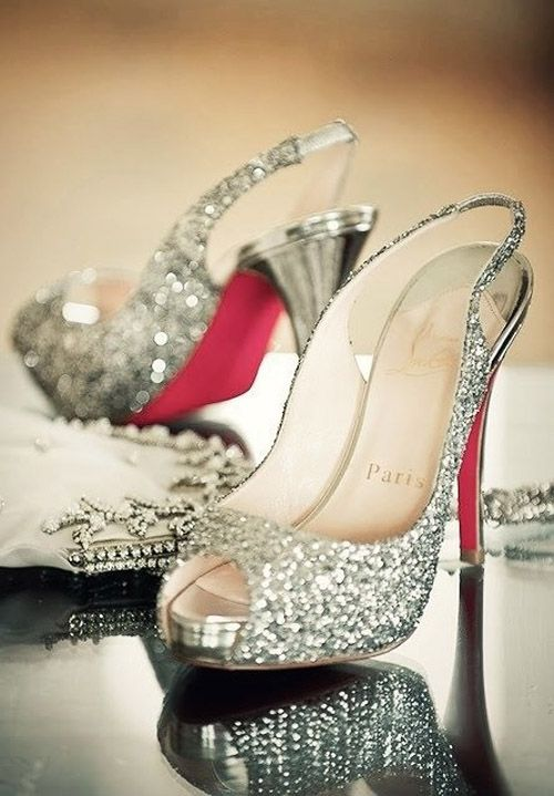 Louboutins--in a blinged out wedding shoe, I must have gone to Heaven!  That is THE Cinderella Princess shoe!