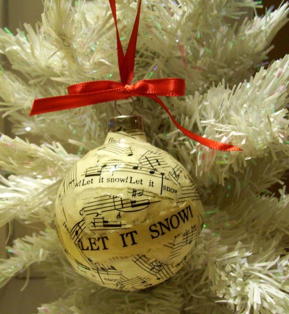 Decoupaged glass ball ornament recycled sheet by moonbeamsdesigns 8