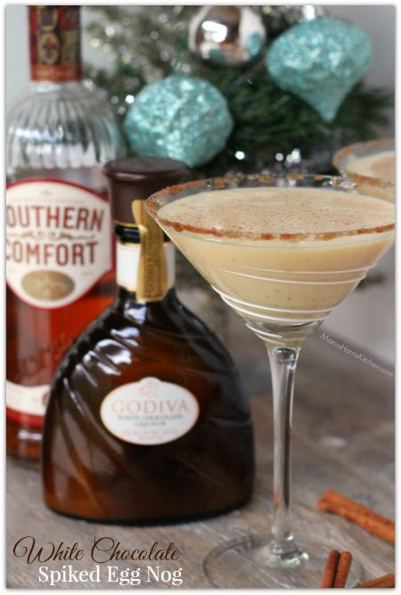 White Chocolate Spiked Egg Nog using Southern Comfort and White Chocolate Liqueur - Mama Harris' Kitchen