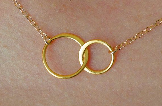 Forever Linked Together Small Circles Pendant Necklace in Gold, wedding, bridesmaid gift, entwined, interlocking circles on Etsy, £18.05